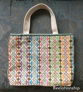 Square Motif Striped Tote Bag 001 | by Beelationship Embroidery Studio