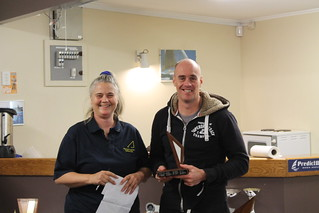 Rob Croft, winner of the Early bird Series intermediate with Chantal Grass | by PLSC (Panmure Lagoon Sailing Club)