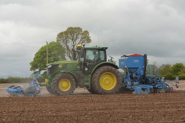 John Deere 6215R Tractor with a Lemken VarioPack Front Press, a Lemken Solitair 9 Seed Drill & Power Harrow