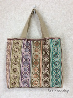 Circle and Cross Motif Striped Tote Bag 001   by Beelationship Embroidery Studio