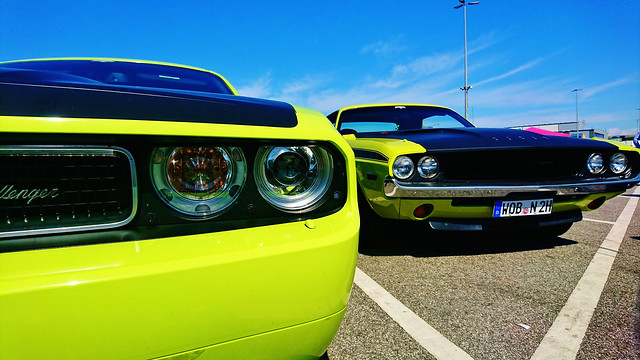 Old And New Dodge Challenger Cars
