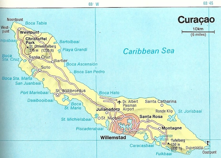Map of Curacao, 1990 | One of the three