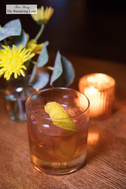 Rhubarbara Ann - a rhubarb infused Old Fashioned cocktail