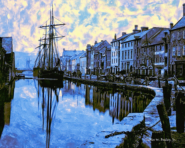 Digital Ink Drawing of a Quay in Newry by Charles W. Bailey, Jr.