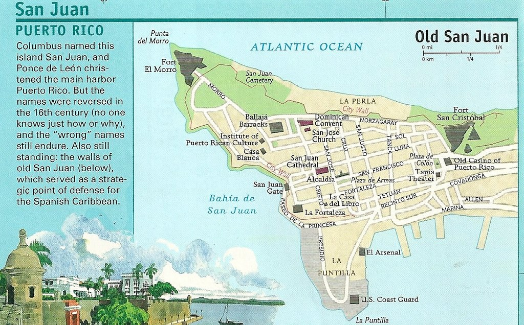 Map of Old San Juan, 1990 | The historic area of San Juan, P ...