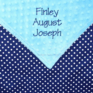 Aqua and Navy Baby Blanket