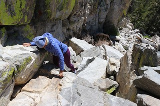 122 Down-climbing the steep granite chute on the northwest face of Yale Peak | by _JFR_