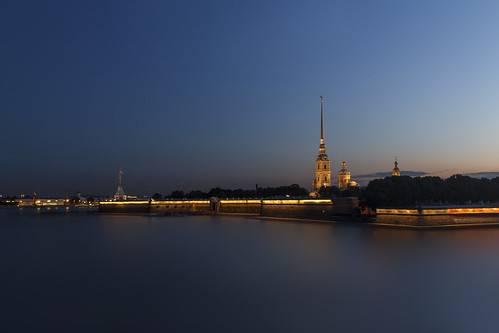 saintpetersburg night river water cityscape blue sunset peterpavels fortress classic sky light city