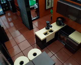Lava House MOC kitchen slightly from above | by betweenbrickwalls