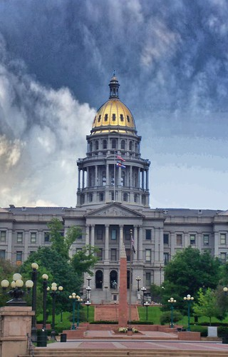 colorado state capitol co dome denver onasill civic center historic district nrhp architecture architect e myers building government us places exterior view sunset photo border outdoor monument goldgold rush city downtown centre