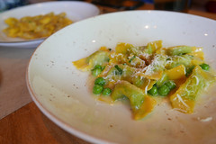 English pea casoncelli with brown butter & mint ($22)