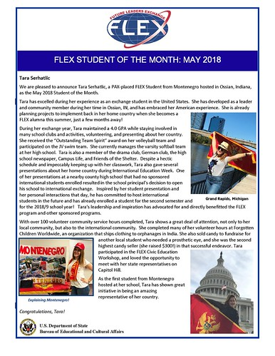 Congratulations to the May 2018 FLEX Student of the Month, Tara from Montenegro! | by FLEXprogram