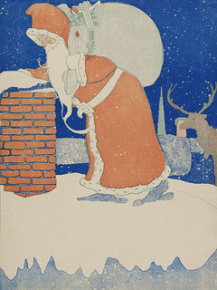 Vintage Santa Claus  and reindeer illustration (1901). | by Free Public Domain Illustrations by rawpixel