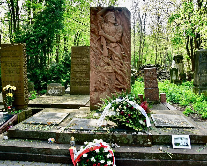 Monument of Warsaw Ghetto Uprising in Jewish Cemetery in Warsaw