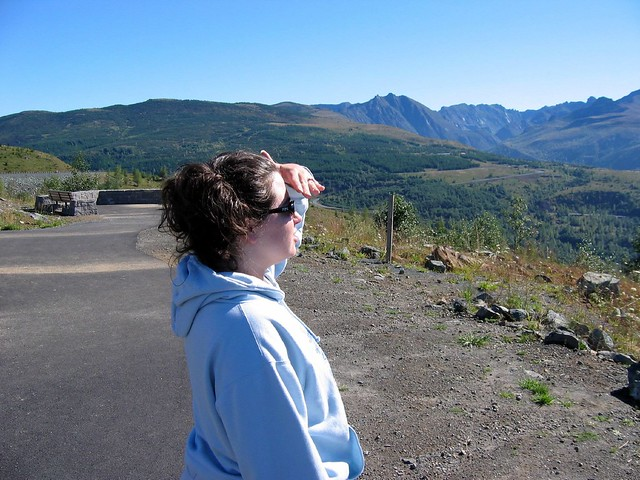 Annie looking at St. Helens