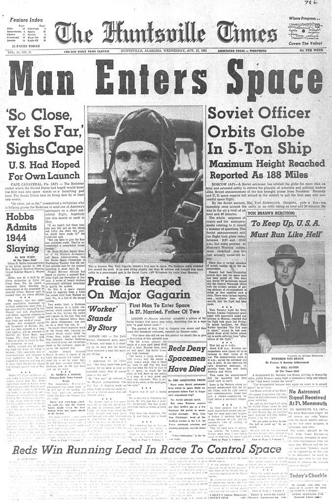 Released to Public: Yuri Gagarin Headline, 1961 (NASA)   Flickr