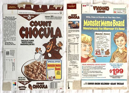 Vintage General Mills Count Chocula Cereal Box Monster Memo Board