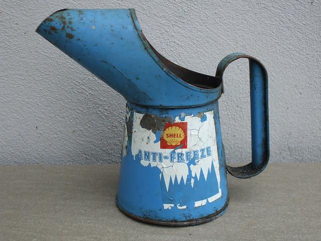 Vintage Automobilia Shell Blue Anti Freeze Steel Advertising Jug
