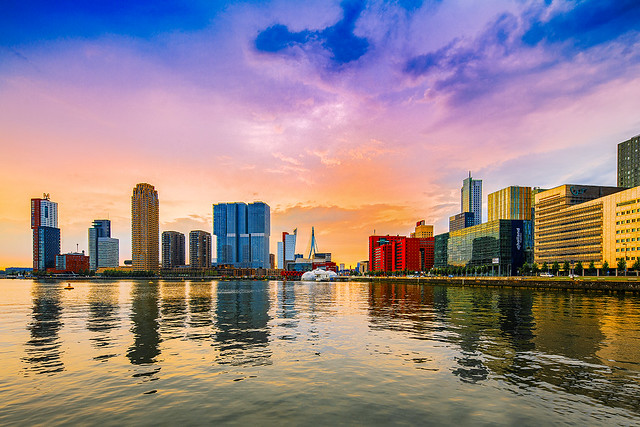 Rotterdam Rijnhaven kissed by the sunset