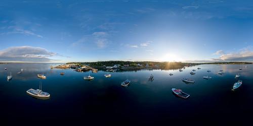 360 dji maine newengland prospectharbor vr aerial boats coast drone equirectangular fishing harbor ocean panorama sunset unitedstates usa