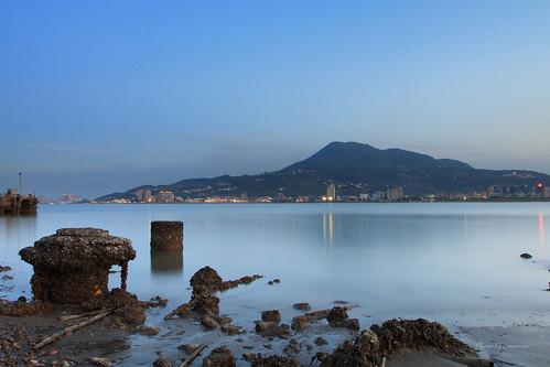 夕陽 觀音山 油車口 沙崙 淡水 新北市 台灣 taiwan sunset bluehour