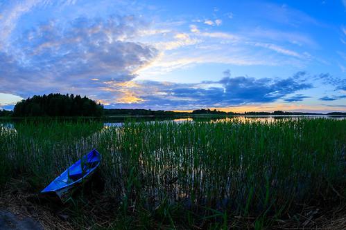 kesä 15mm landscape pitkäjärvi pilvi laaksolahti vene espoo järvi fisheye boat cloud lake prime