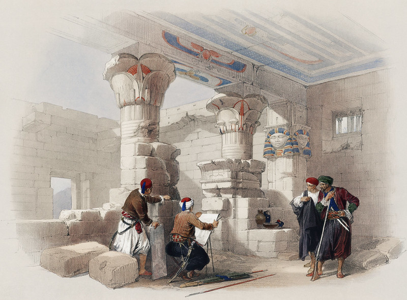 Deir el Medina (Dayr al Madinah) is an ancient Egyptian village which was home to the artisans who worked on the tombs in the Valley of the Kings illustration by David Roberts (1796-1864).