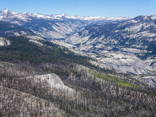 High country, Merced Canyon, + burn area from Clouds Rest | by snackronym