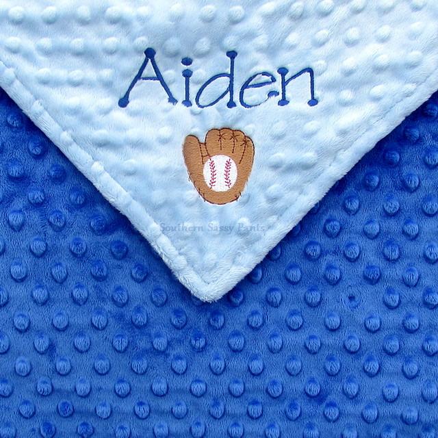 Baseball Baby Boy Name Blanket
