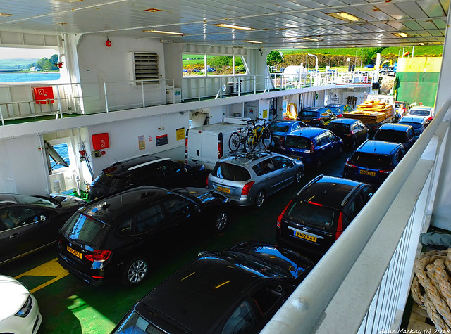 Scotland West Highlands Argyll the car deck of the ferry Loch Shira at the island of Cumbrae 28 May 2018 by Anne MacKay