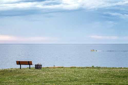 sky grass water cloud misty lakeerie cleveland ohio shore shoreline lake bench clovers boat horizon edge landscape tranquil peaceful relaxing