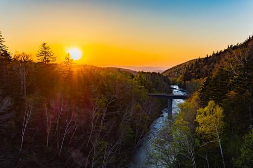 biei evening hokkaido japan landscape mountain nature shirogane stream sunset minamioka jpn