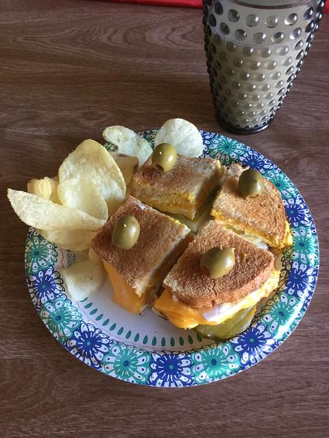 Egg, cheese, pickle sandwich.
