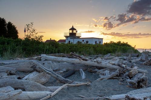 lighthouse sunset washington nikon d7100 usa building driftwood pointnopont pacificocean pugetsound