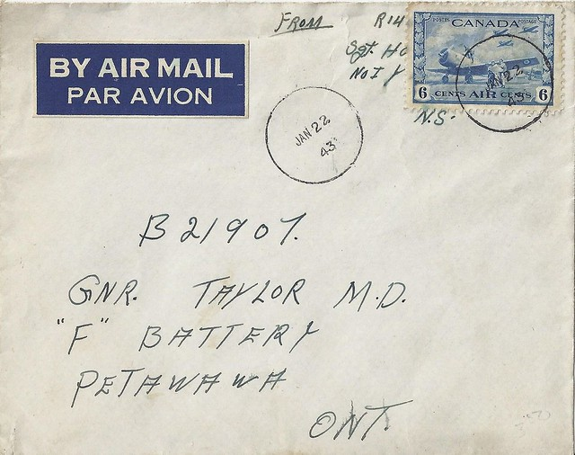 Nova Scotia / Petawawa Postal History - 22 January 1943 -
