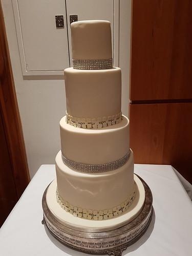 Four tiered diamante and hydrangea wedding cake. | by platypus1974