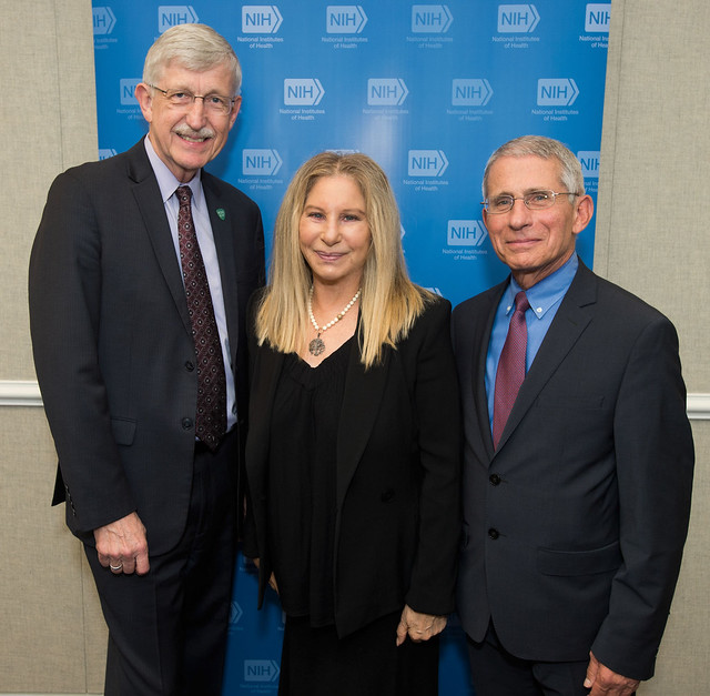 Barbra Streisand with Francis Collins and Anthony Fauci