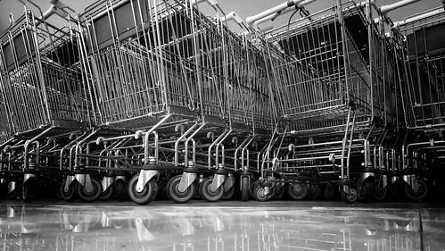 weekly shopping carts supermarket quezoncity manila philippines blackandwhite wormseyeview