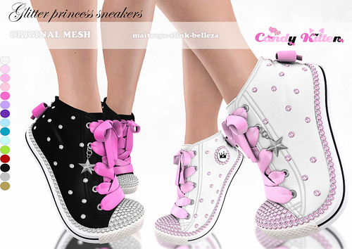 glitter princess sneakers