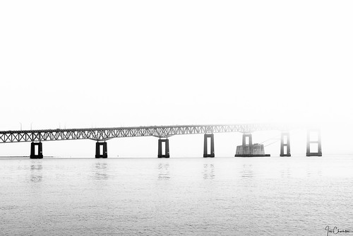 bridge pellbridge newport rhodeisland newengland fog foggy blackandwhite highkey outdoors water reflection architecture structure transportation road travel seascape landscape