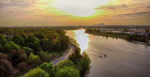 arialphoto benfranklinbridge cooperriver cooperriverpark dji drone newjersey phantom4 philadelphia spring sunset trees water