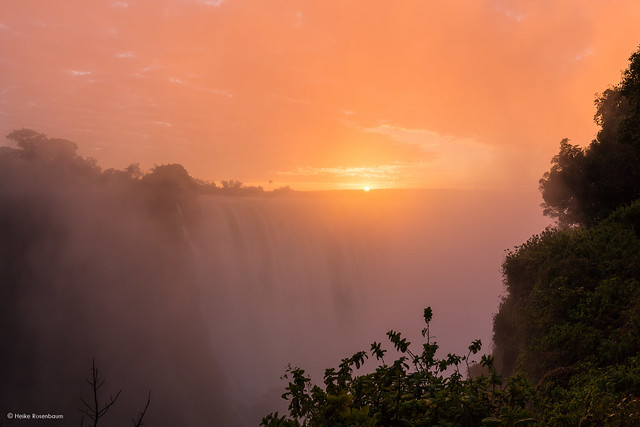 Sunrise at Victoria Falls, Zimbabwe