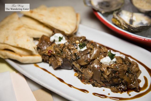 Spicy eggplant, mint , pomegranate molasses, greek yogurt, pita bread