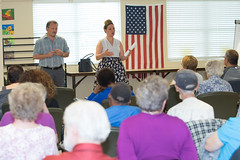 State Representatives Tony D'Amelio and Stephanie Cummings held office hours at the Waterbury Senior Center where they discussed the recently-ended 2018 regular legislative session and took questions from the audience on myriad topics, including the budget, tolls, teacher retirement and more.