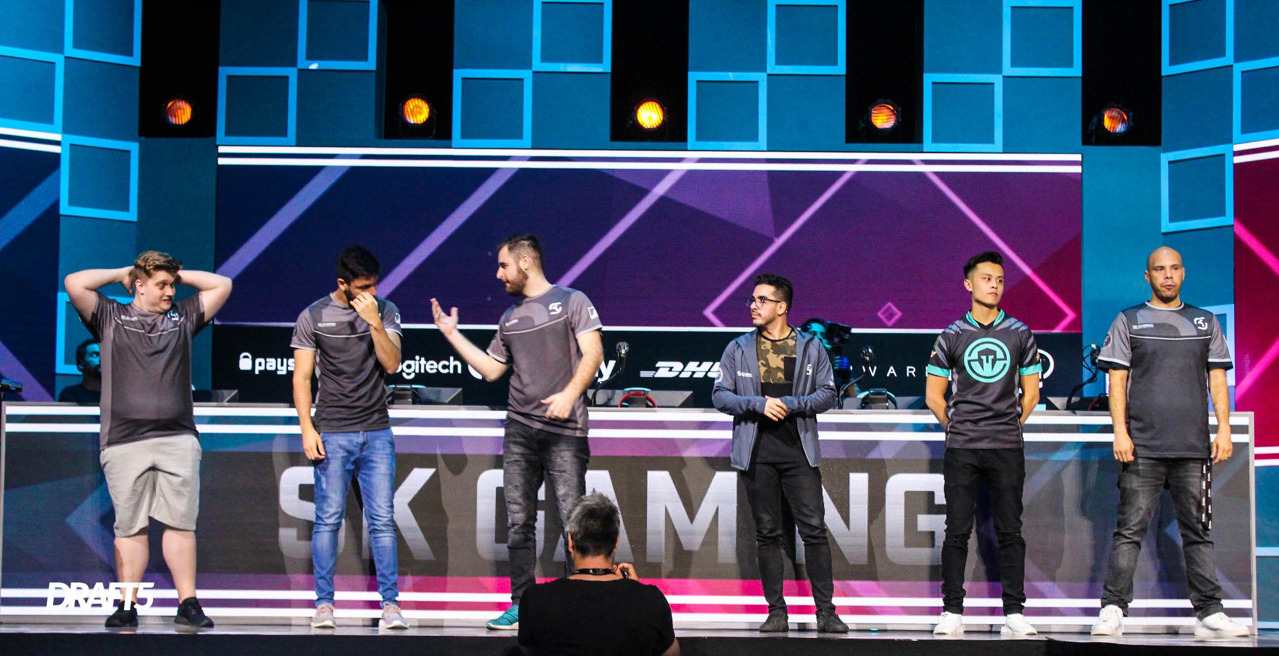 Time da SK Gaming que depois veio a ser o primeiro time da MIBR pós retorno na ESL One Belo Horizonte(Brasil)/ Foto Reprodução: LucasSpricigo/DRAFT5