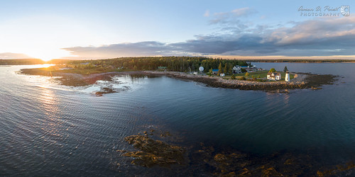 dji maine newengland prospectharbor aerial coast drone harbor lighthouse ocean panorama sunset unitedstates usa
