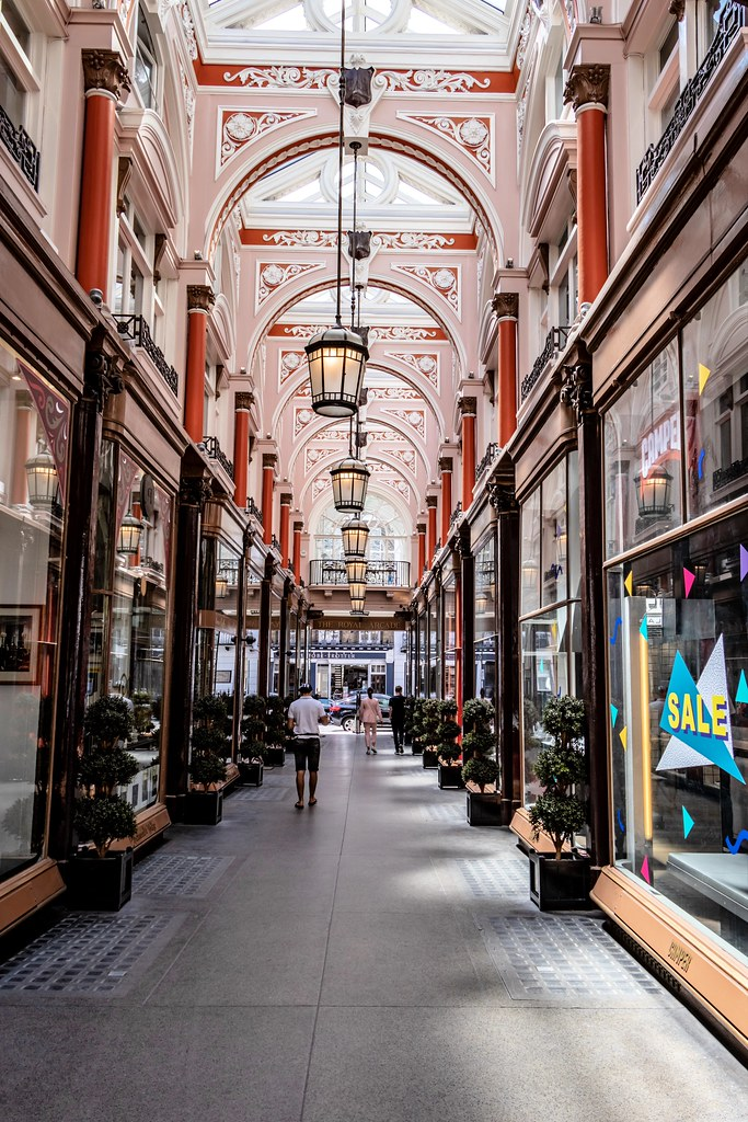 The Arcade was constructed in 1879, connects Old Bond Street with Albemarle Street in London's Mayfair, and is the city's oldest purpose-built shopping arcade.