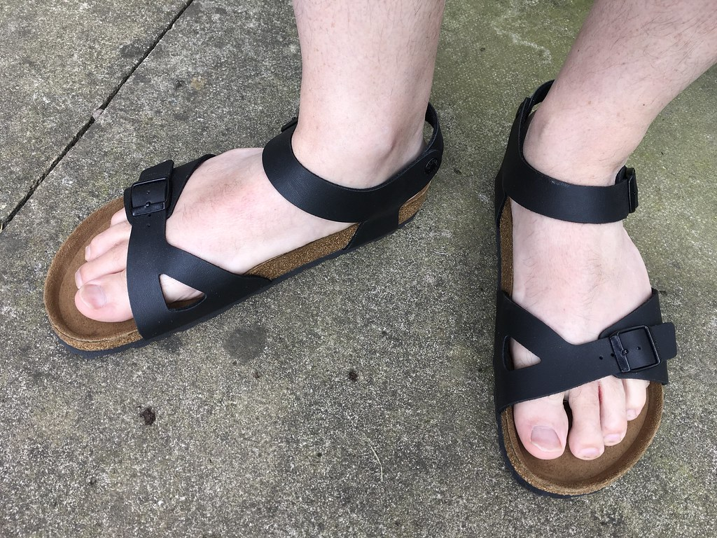 5bb82da68cc5 ... New Birkenstock Rio black Birko-Flor sandals