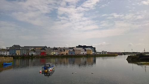 thelongwalk galway ireland cameraphone lumia650 water calm still reflection buoy swans architecture estuary boat pier river seagull terrace
