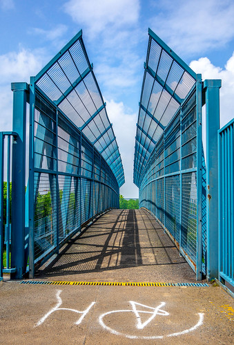 cwhatphotos photographs photograph pics pictures pic picture image images foto fotos photography artistic that have which contain olympus omd em10 mk ii panasonic f25 g14mm peterlee county durham prime a19 road dual carriageway bridge foot footbridge crossing metal blue railings fence mesh view flickr